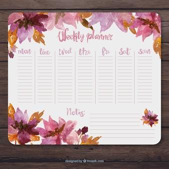Aquarela planejamento semanal com flores rosa