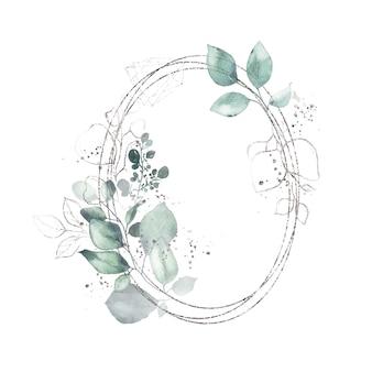 Aquarela prata geométrica redonda moldura oval com folhas verdes