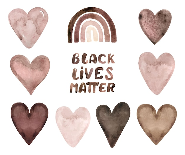 Aquarela preta vidas matéria clipart. mão, mulher, corações, arco-íris, esportes, listras, folhas.