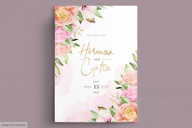 Aquarela primavera floral e folhas cartão de convite
