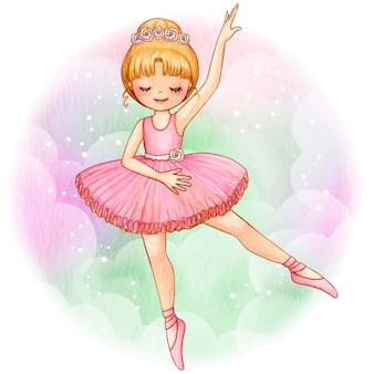 Aquarela princesa bailarina loira com coroa de rosas