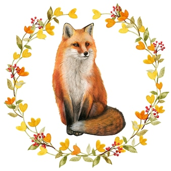 Aquarela raposa vermelha realista em uma grinalda de outono