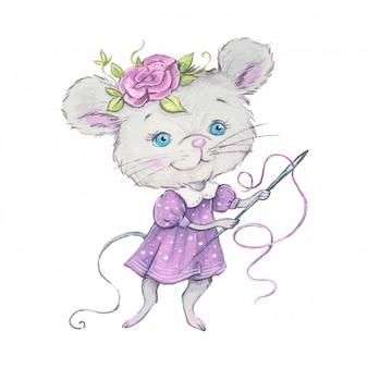 Aquarela rato bonito dos desenhos animados com uma agulha e linha para costura. ilustração vetorial