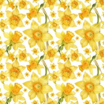 Aquarela realista padrão floral com narciso
