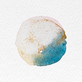 Aquarela redonda azul desbotada com vetor de glitter