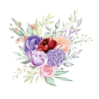 Aquarela rosa buquê backfround