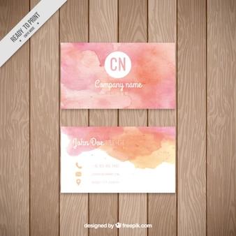 Aquarela rosa cartão corporativo