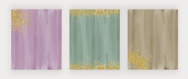 Aquarela rosa e verde com textura de pontos de brilho dourado fundos de desenho vetorial