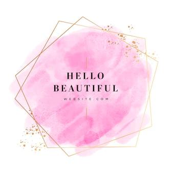 Aquarela rosa pastel com moldura dourada