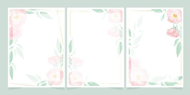 Aquarela rosa selvagem rosa com coleção de modelo de cartão de convite moldura dourada