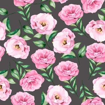 Aquarela rosa suave padrão floral sem costura