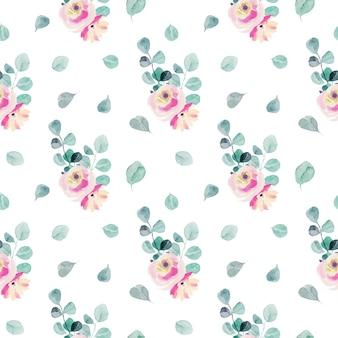 Aquarela rosa tenras rosas, ramos de eucalipto e folhas padrão sem emenda