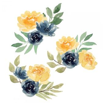 Aquarela rosas amarelas e índigo solta arranjo de flores floral