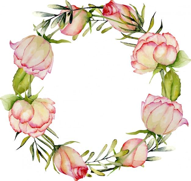 Aquarela rosas, folhas verdes e grinalda de ramos