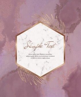 Aquarela roxa com cartão de folha e moldura de mármore geométrica.