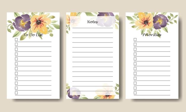Aquarela roxo amarelo floral notas para fazer lista coleção de vetores