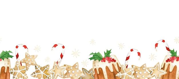 Aquarela sem costura borda com doces de natal biscoitos de gengibre brownies pirulitos