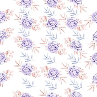 Aquarela sem costura floral e folha