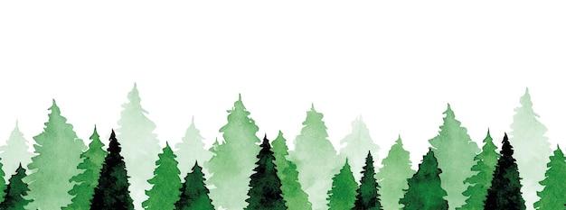 Aquarela sem costura fronteira com pinheiros verdes impressão padrão com floresta abstrata