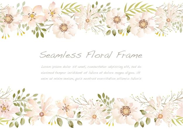 Aquarela sem costura moldura floral isolada em um branco