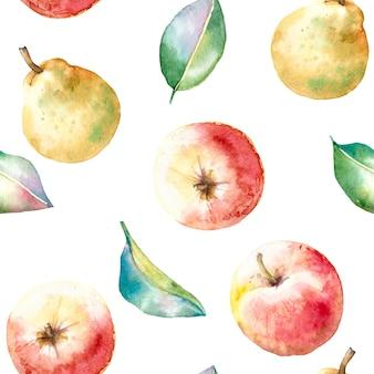 Aquarela sem costura outono padrão com maçãs e peras