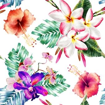 Aquarela sem costura padrão botanicals.