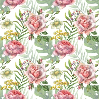 Aquarela sem costura padrão botânico de flores silvestres rosa brilhantes de peônia, rosas e outras plantas e folhas tropicais.