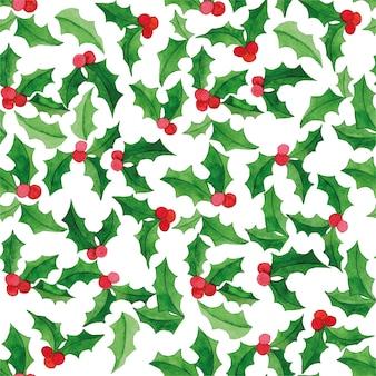 Aquarela sem costura padrão com azevinho em um fundo branco simples impressão de natal de ano novo