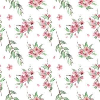 Aquarela sem costura padrão com brunches de cerejeira desabrocham, flores e folhas