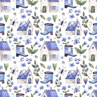 Aquarela sem costura padrão com casas ramos de mirtilo flores de mirtilo borboletas