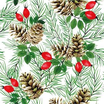 Aquarela sem costura padrão com cones de ramos de abeto e bagas vermelhas de rosa selvagem impressão de natal