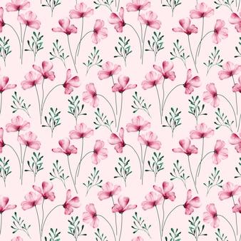 Aquarela sem costura padrão com flor rosa desabrochando e ervas daninhas