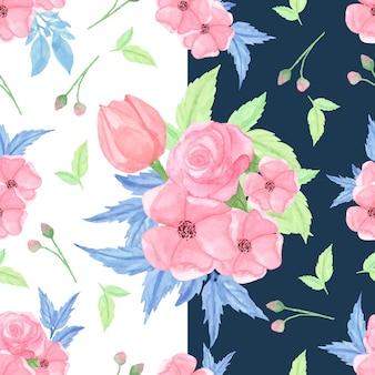 Aquarela sem costura padrão com flores cor de rosa