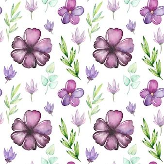 Aquarela sem costura padrão com flores e folhas
