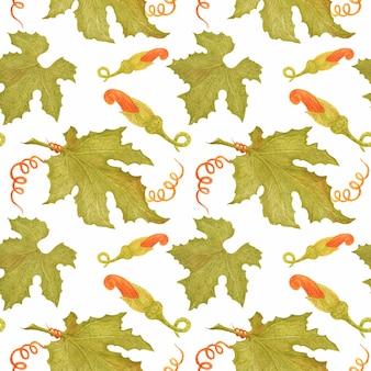 Aquarela sem costura padrão com folhas de abóbora