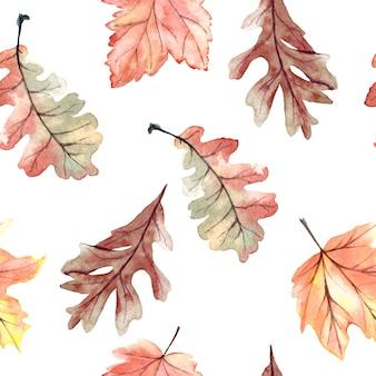 Aquarela sem costura padrão com folhas de outono