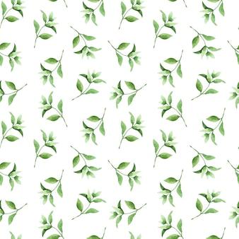 Aquarela sem costura padrão com folhas e ramos de chá de mão desenhada. Vetor Premium