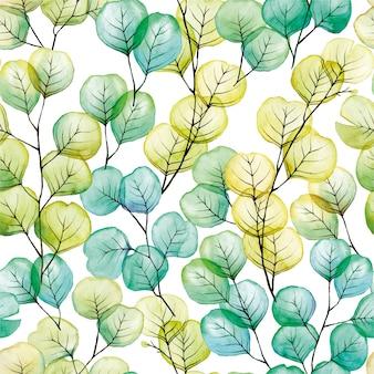Aquarela sem costura padrão com folhas transparentes de eucalipto azul verde amarelo