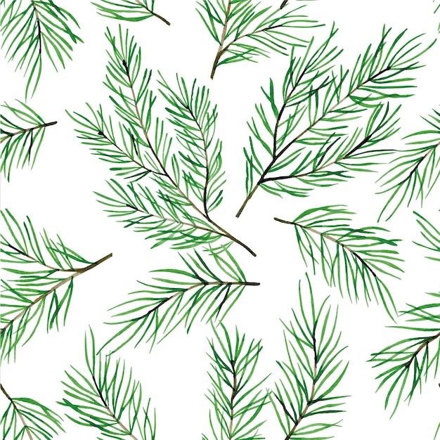 Aquarela sem costura padrão com galhos de pinheiro árvores de natal isoladas no fundo branco