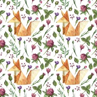 Aquarela sem costura padrão com ilustração de origami fox e flores silvestres.