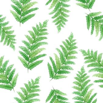 Aquarela sem costura padrão com lindas folhas exóticas tropicais