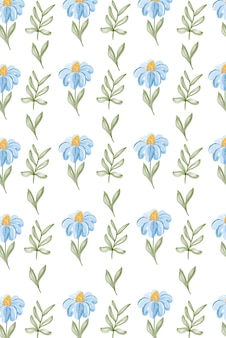 Aquarela sem costura padrão com margaridas. para decoração de têxteis, moda, embalagens e web design.