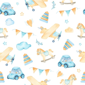 Aquarela sem costura padrão com meninos brinquedos carro avião pirâmides bandeiras cavalo de balanço