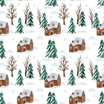 Aquarela sem costura padrão com neve inverno floresta e casa