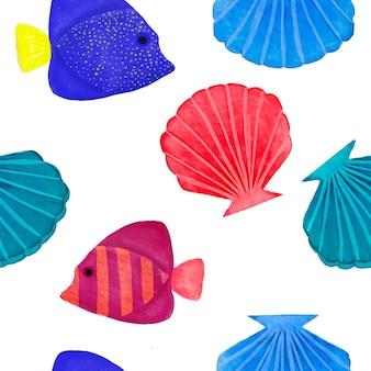 Aquarela sem costura padrão com peixe e concha