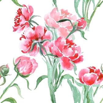 Aquarela sem costura padrão com peônias florescendo. ilustração vetorial