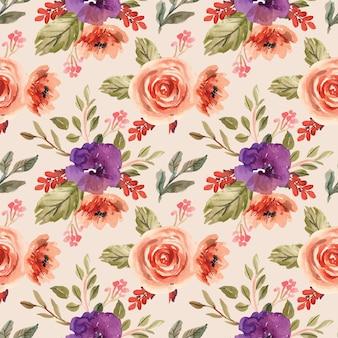 Aquarela sem costura padrão com peônias roxas e flores laranja