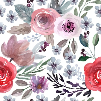 Aquarela sem costura padrão com rosa vermelha e flores roxas