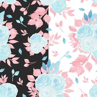 Aquarela sem costura padrão com rosas azuis