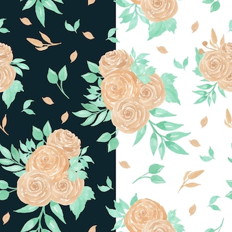 Aquarela sem costura padrão com rosas de pêssego